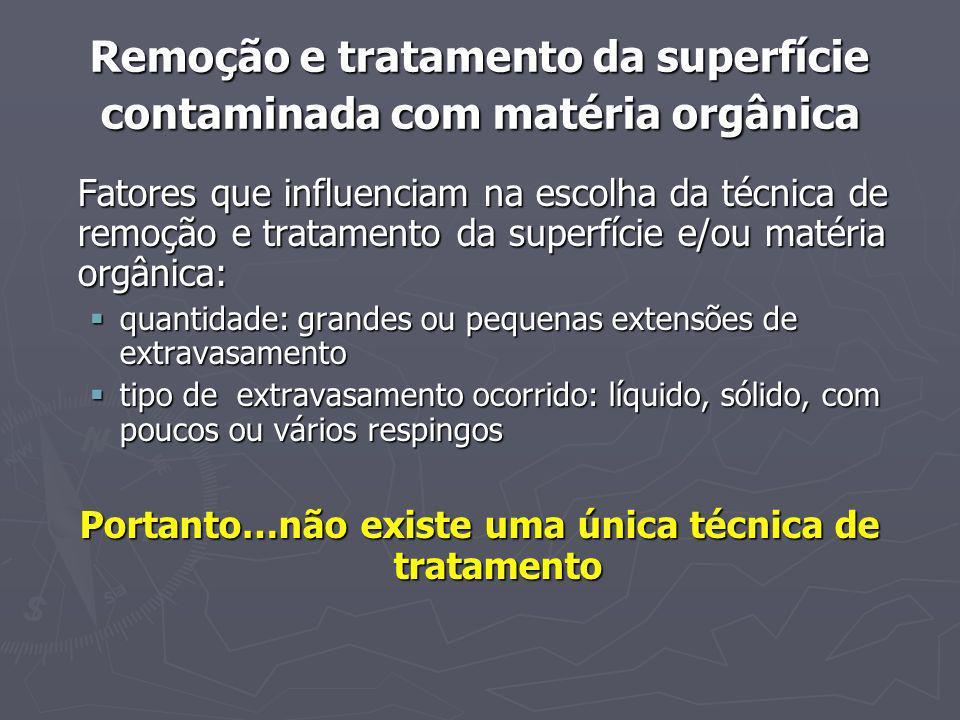 Remoção e tratamento da superfície contaminada com matéria orgânica Fatores que influenciam na escolha da técnica de remoção e tratamento da superfíci
