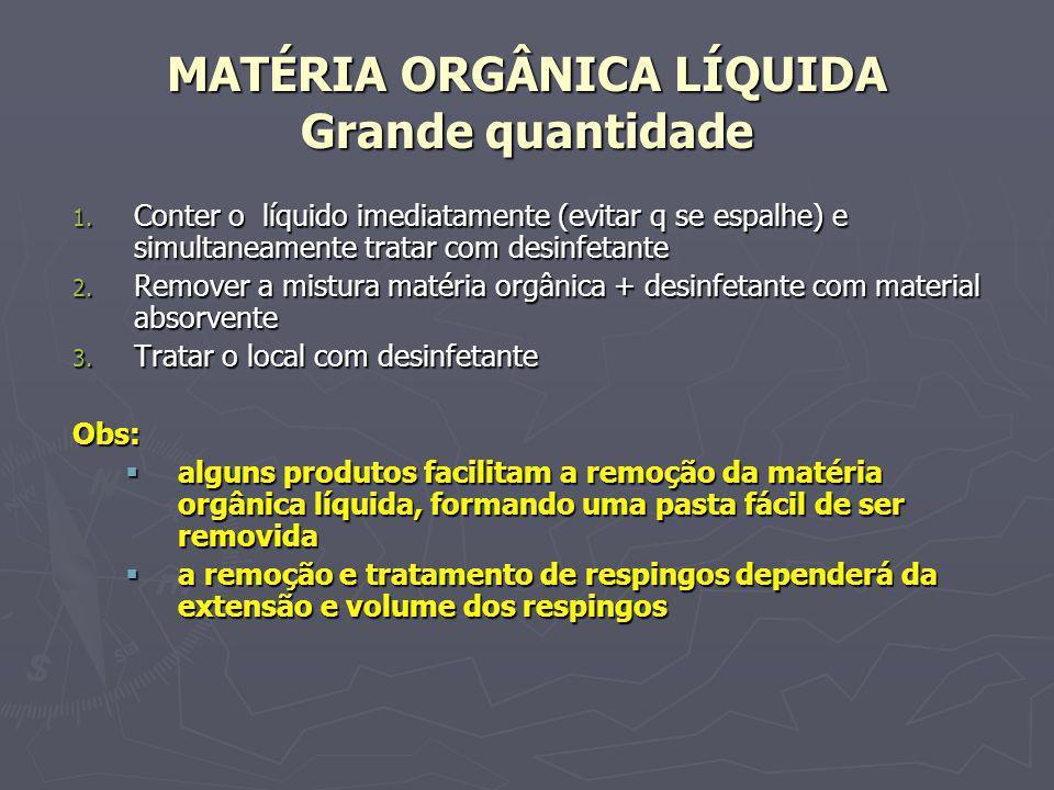 MATÉRIA ORGÂNICA LÍQUIDA Grande quantidade 1. Conter o líquido imediatamente (evitar q se espalhe) e simultaneamente tratar com desinfetante 2. Remove