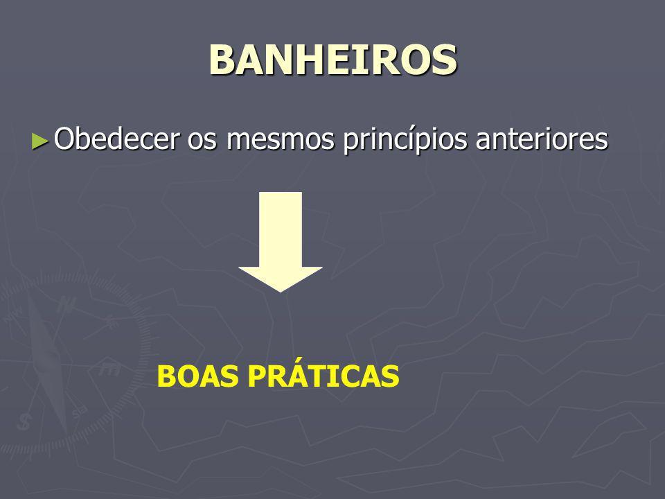 BANHEIROS Obedecer os mesmos princípios anteriores Obedecer os mesmos princípios anteriores BOAS PRÁTICAS