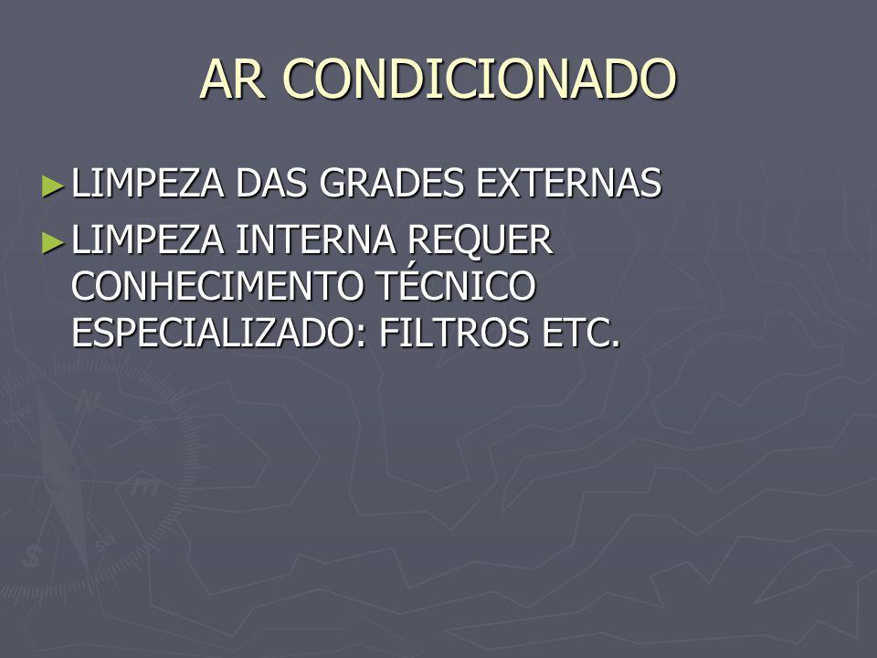 AR CONDICIONADO LIMPEZA DAS GRADES EXTERNAS LIMPEZA DAS GRADES EXTERNAS LIMPEZA INTERNA REQUER CONHECIMENTO TÉCNICO ESPECIALIZADO: FILTROS ETC. LIMPEZ