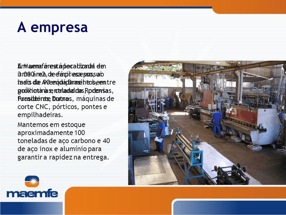 A empresa A Maemfe está localizada em uma área de fácil acesso, ao lado da Avenida Brasil e bem próxima à entrada da Rodovia Presidente Dutra. Em uma