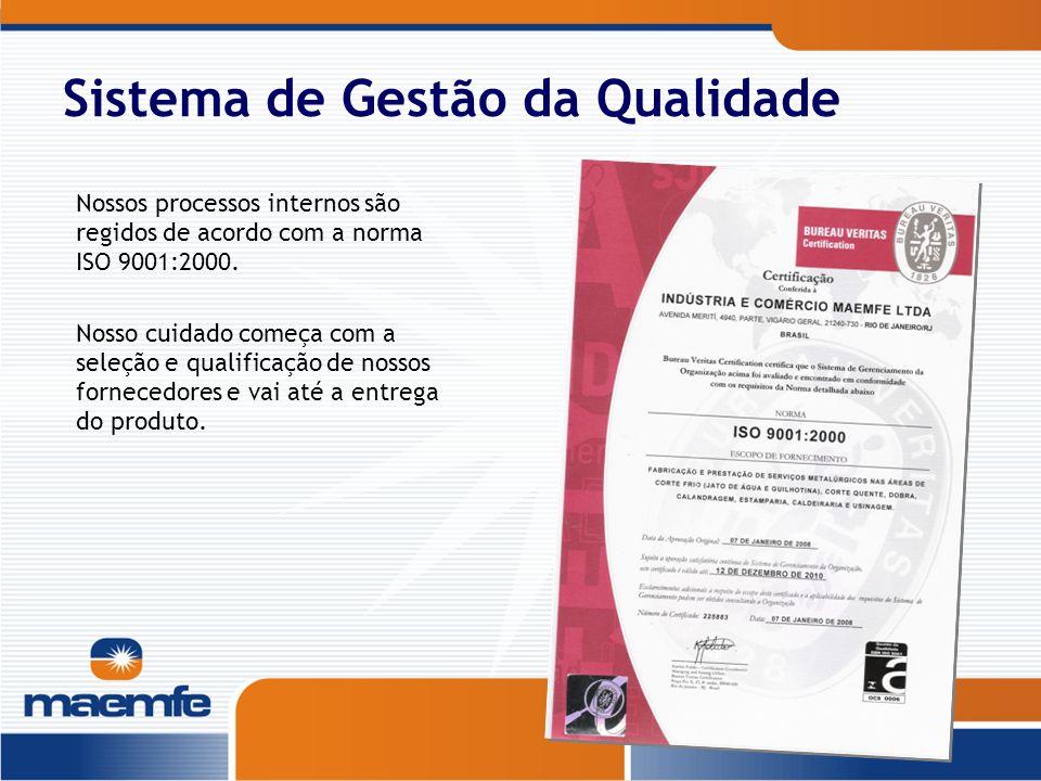 Sistema de Gestão da Qualidade Nossos processos internos são regidos de acordo com a norma ISO 9001:2000. Nosso cuidado começa com a seleção e qualifi