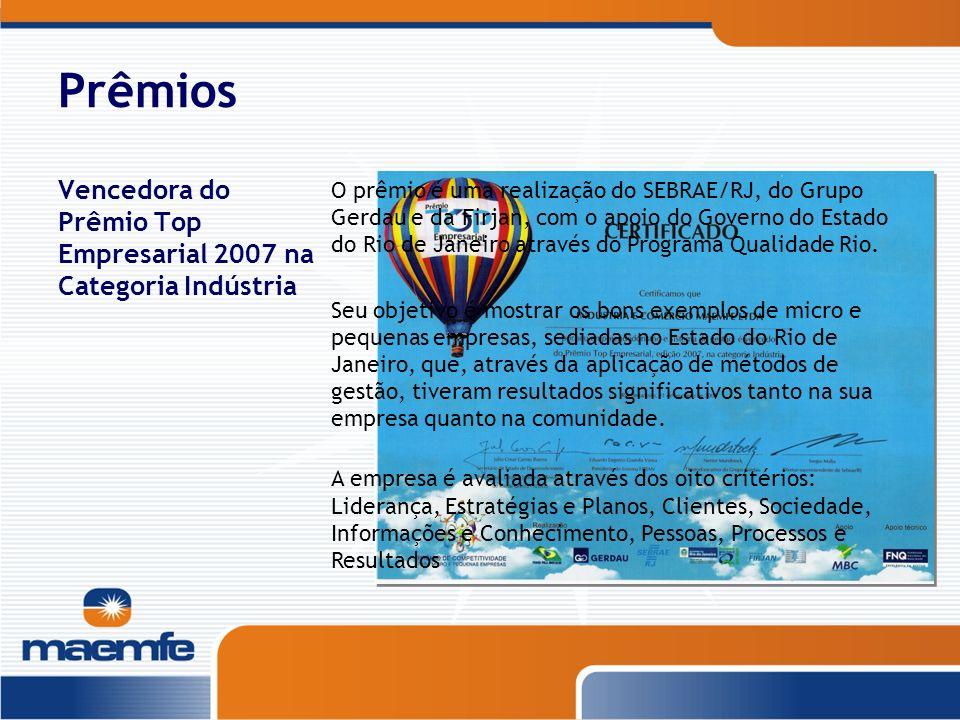 Prêmios Vencedora do Prêmio Top Empresarial 2007 na Categoria Indústria O prêmio é uma realização do SEBRAE/RJ, do Grupo Gerdau e da Firjan, com o apo