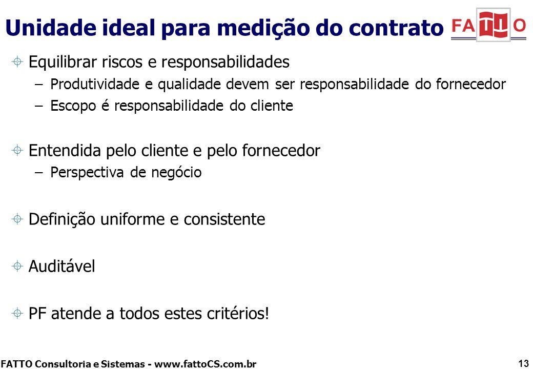 FATTO Consultoria e Sistemas - www.fattoCS.com.br 13 Unidade ideal para medição do contrato Equilibrar riscos e responsabilidades –Produtividade e qua