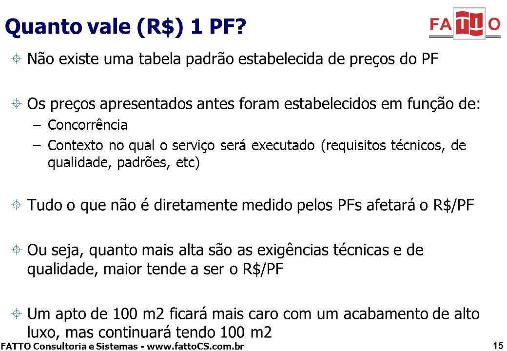 FATTO Consultoria e Sistemas - www.fattoCS.com.br 15 Quanto vale (R$) 1 PF? Não existe uma tabela padrão estabelecida de preços do PF Os preços aprese