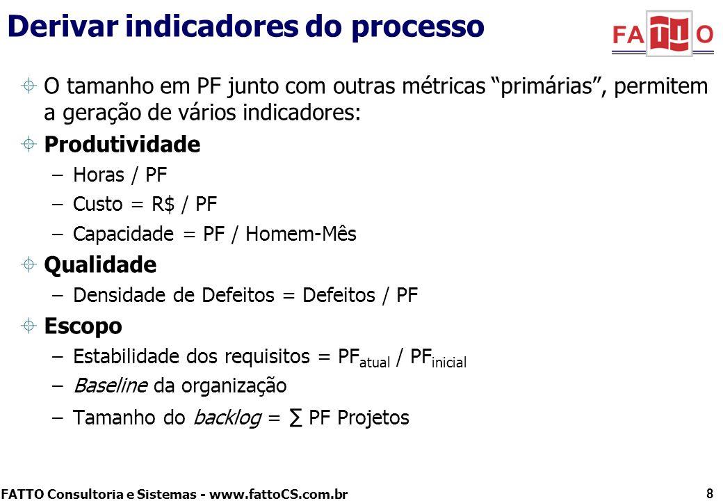 FATTO Consultoria e Sistemas - www.fattoCS.com.br O tamanho em PF junto com outras métricas primárias, permitem a geração de vários indicadores: Produ