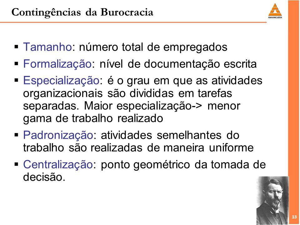 13 Contingências da Burocracia Tamanho: número total de empregados Formalização: nível de documentação escrita Especialização: é o grau em que as ativ