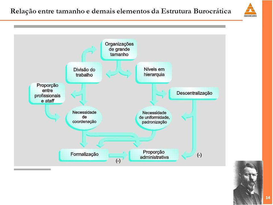 14 Relação entre tamanho e demais elementos da Estrutura Burocrática