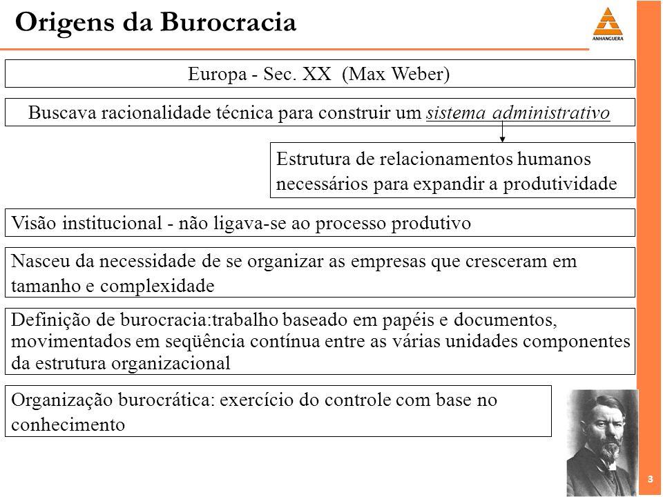 3 3 Origens da Burocracia Europa - Sec. XX (Max Weber) Buscava racionalidade técnica para construir um sistema administrativo Estrutura de relacioname