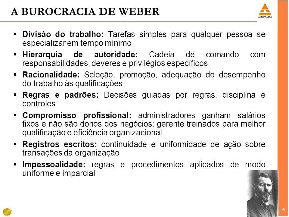 4 4 A BUROCRACIA DE WEBER Divisão do trabalho: Tarefas simples para qualquer pessoa se especializar em tempo mínimo Hierarquia de autoridade: Cadeia d