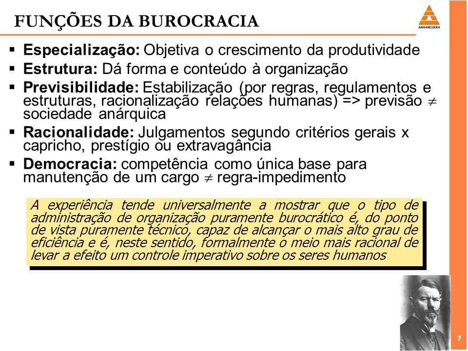 7 7 FUNÇÕES DA BUROCRACIA Especialização: Objetiva o crescimento da produtividade Estrutura: Dá forma e conteúdo à organização Previsibilidade: Estabi
