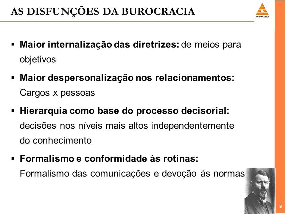 8 8 AS DISFUNÇÕES DA BUROCRACIA Maior internalização das diretrizes: de meios para objetivos Maior despersonalização nos relacionamentos: Cargos x pes