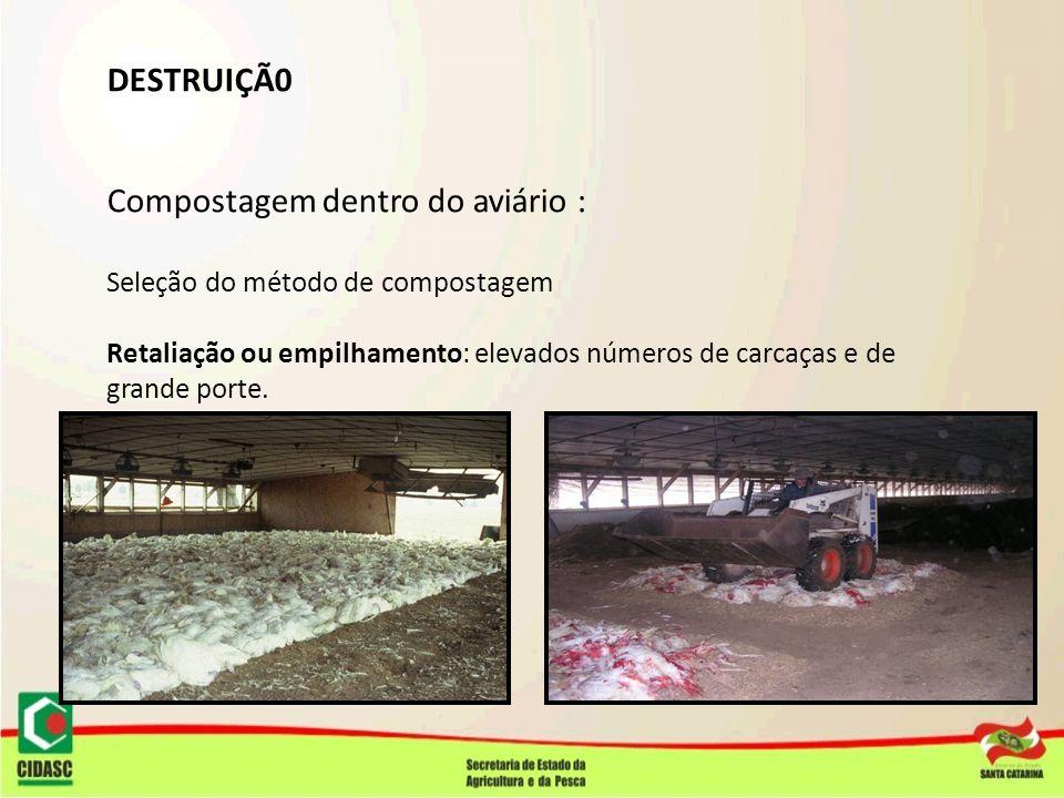 DESTRUIÇÃ0 Compostagem dentro do aviário : Seleção do método de compostagem Retaliação ou empilhamento: elevados números de carcaças e de grande porte