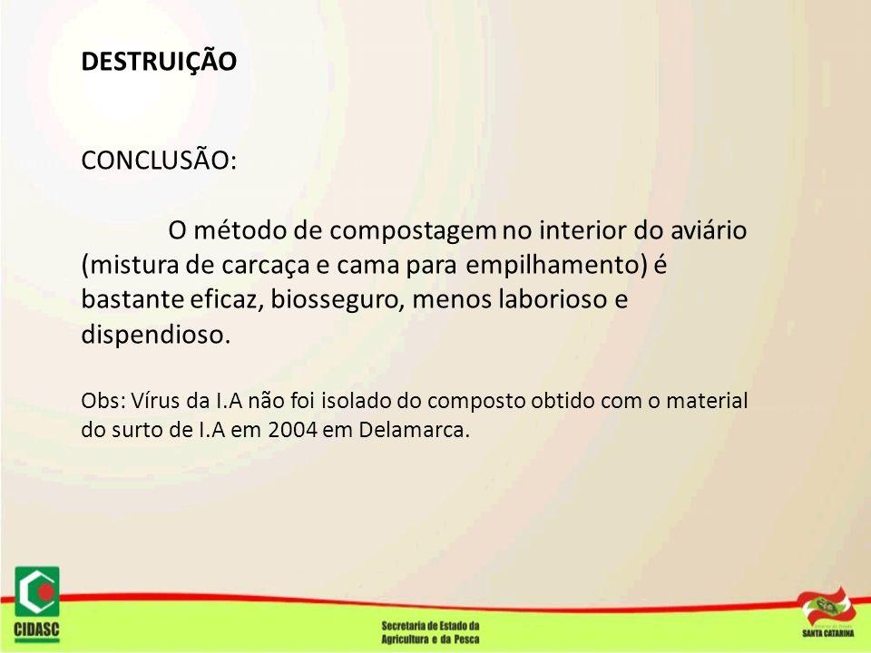 DESTRUIÇÃO CONCLUSÃO: O método de compostagem no interior do aviário (mistura de carcaça e cama para empilhamento) é bastante eficaz, biosseguro, meno