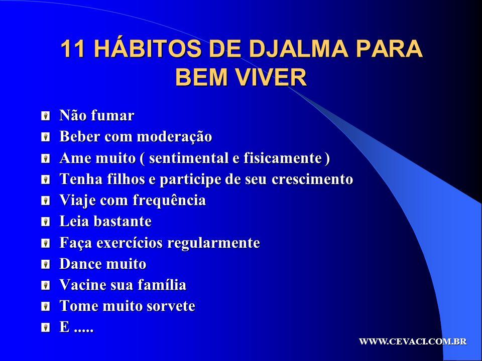 11 HÁBITOS DE DJALMA PARA BEM VIVER Não fumar Beber com moderação Ame muito ( sentimental e fisicamente ) Tenha filhos e participe de seu crescimento