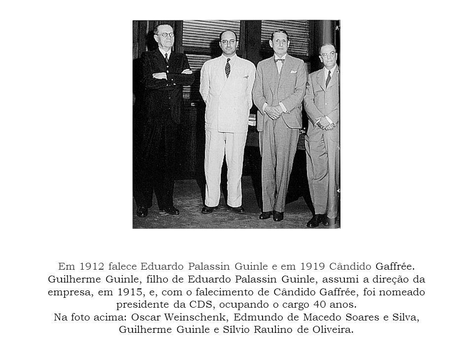 Em 1912 falece Eduardo Palassin Guinle e em 1919 Cândido Gaffrée. Guilherme Guinle, filho de Eduardo Palassin Guinle, assumi a direção da empresa, em