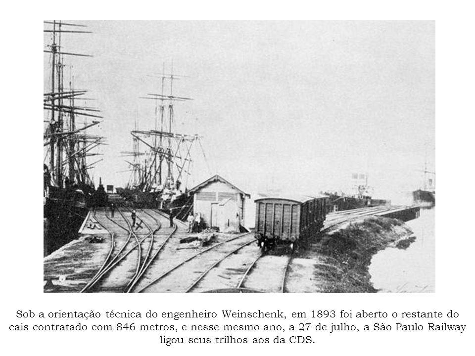 Sob a orientação técnica do engenheiro Weinschenk, em 1893 foi aberto o restante do cais contratado com 846 metros, e nesse mesmo ano, a 27 de julho,