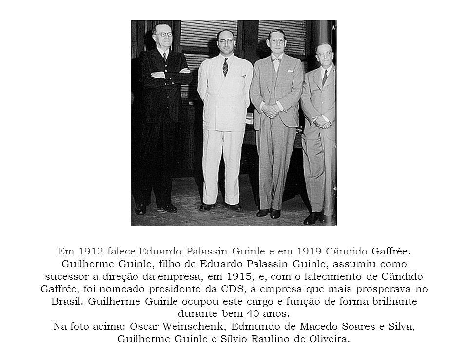 Em 1912 falece Eduardo Palassin Guinle e em 1919 Cândido Gaffrée. Guilherme Guinle, filho de Eduardo Palassin Guinle, assumiu como sucessor a direção