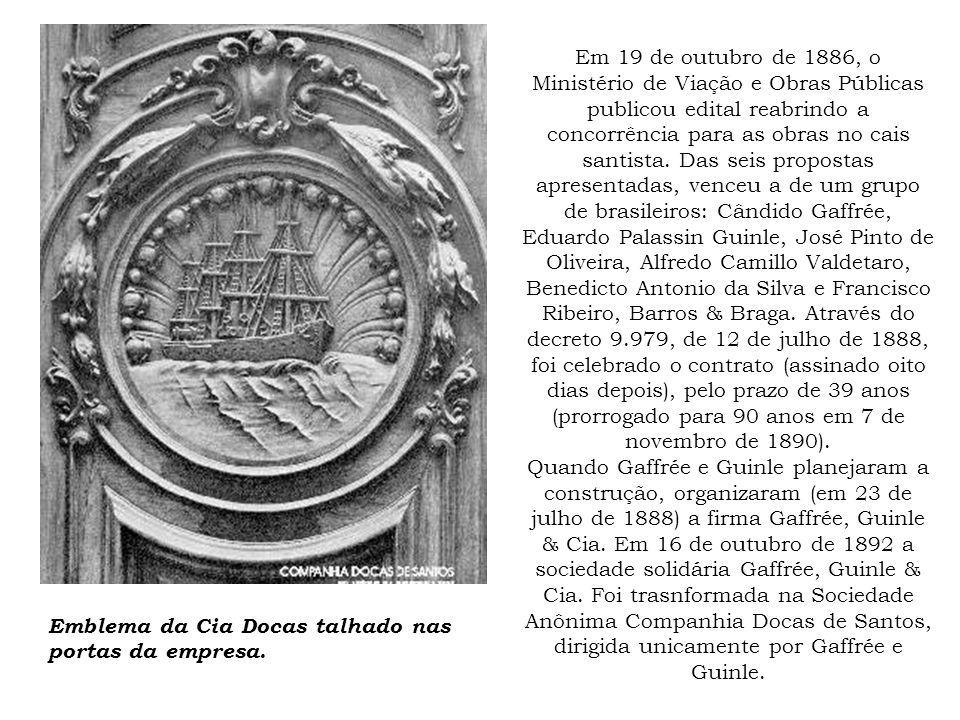 Em 19 de outubro de 1886, o Ministério de Viação e Obras Públicas publicou edital reabrindo a concorrência para as obras no cais santista. Das seis pr