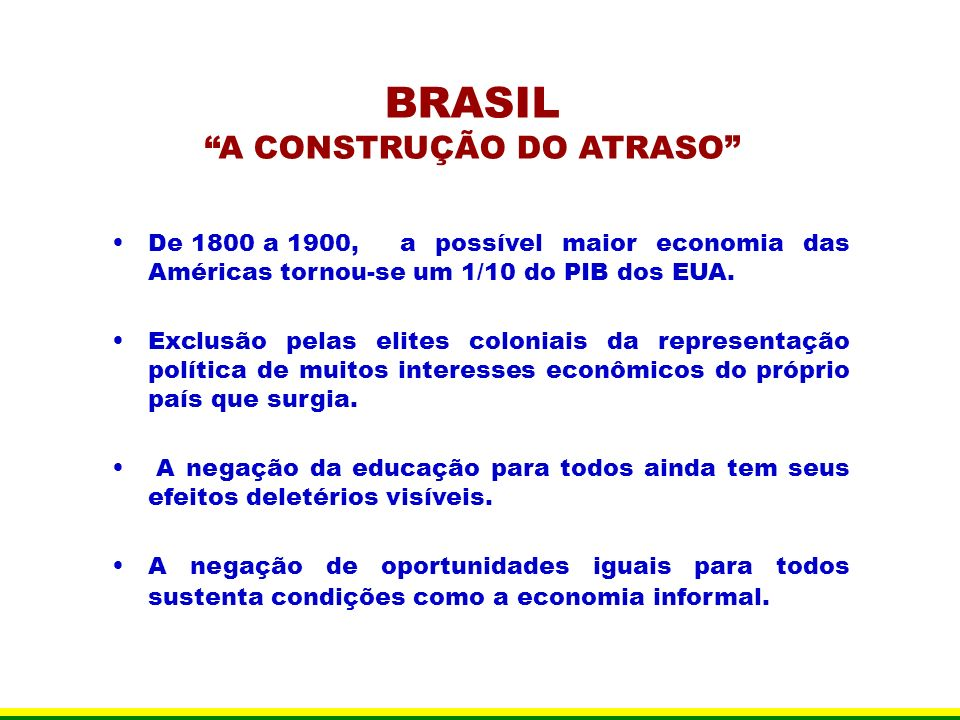BRASIL A CONSTRUÇÃO DO ATRASO De 1800 a 1900, a possível maior economia das Américas tornou-se um 1/10 do PIB dos EUA. Exclusão pelas elites coloniais