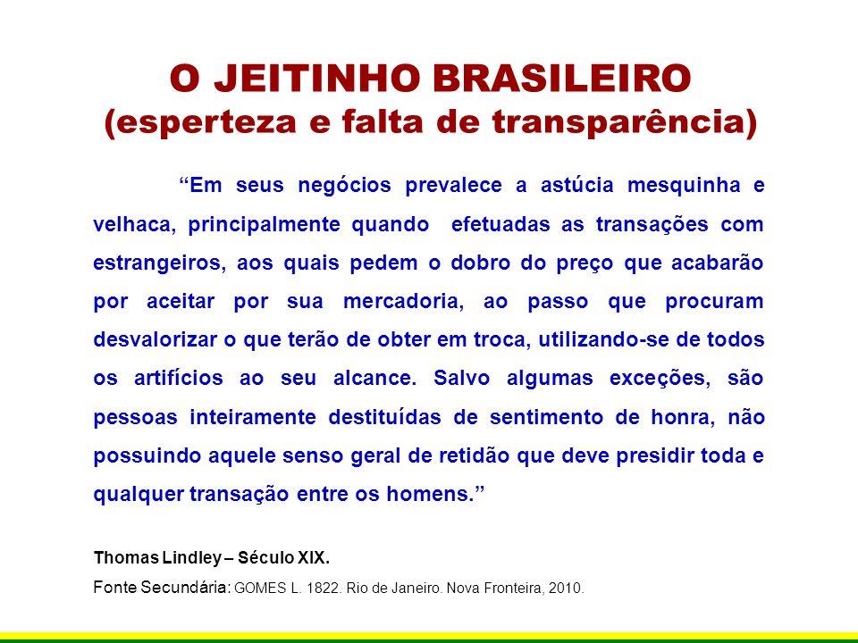 O JEITINHO BRASILEIRO (esperteza e falta de transparência) Em seus negócios prevalece a astúcia mesquinha e velhaca, principalmente quando efetuadas a