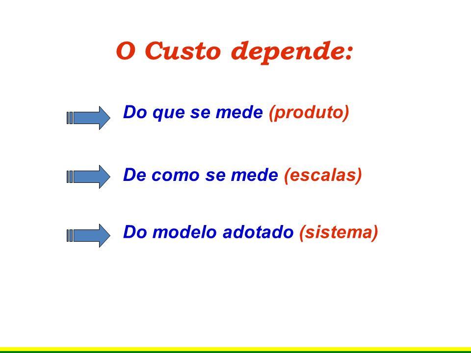 O Custo depende: Do que se mede (produto) De como se mede (escalas) Do modelo adotado (sistema)