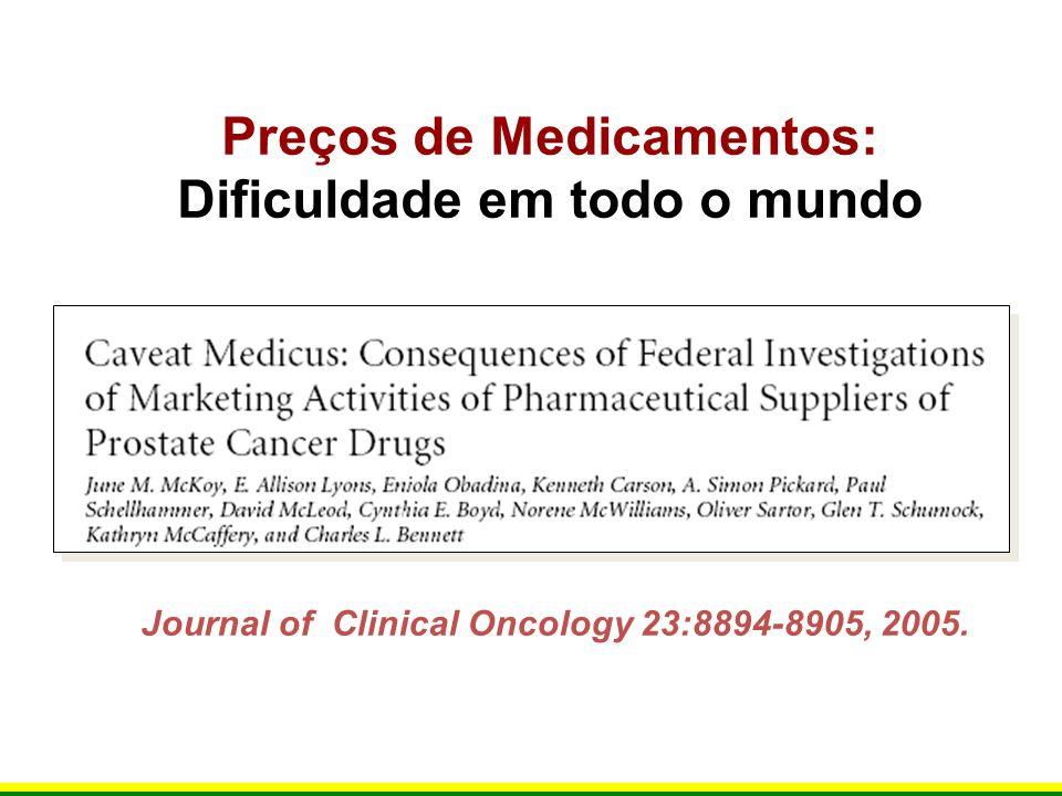 Journal of Clinical Oncology 23:8894-8905, 2005. Preços de Medicamentos: Dificuldade em todo o mundo
