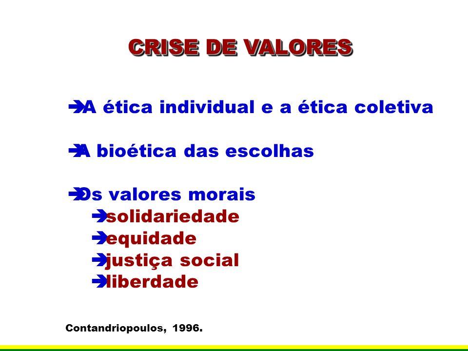 CRISE DE VALORES A ética individual e a ética coletiva A bioética das escolhas Os valores morais solidariedade equidade justiça social liberdade Conta
