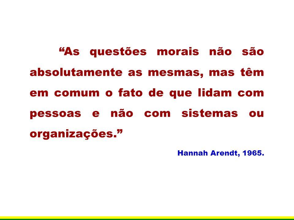 As questões morais não são absolutamente as mesmas, mas têm em comum o fato de que lidam com pessoas e não com sistemas ou organizações. Hannah Arendt