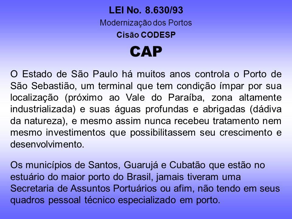 LEI No. 8.630/93 Modernização dos Portos Cisão CODESP CAP O bem público é da sociedade, e isso independe se o controlador é a União, o Estado ou o Mun