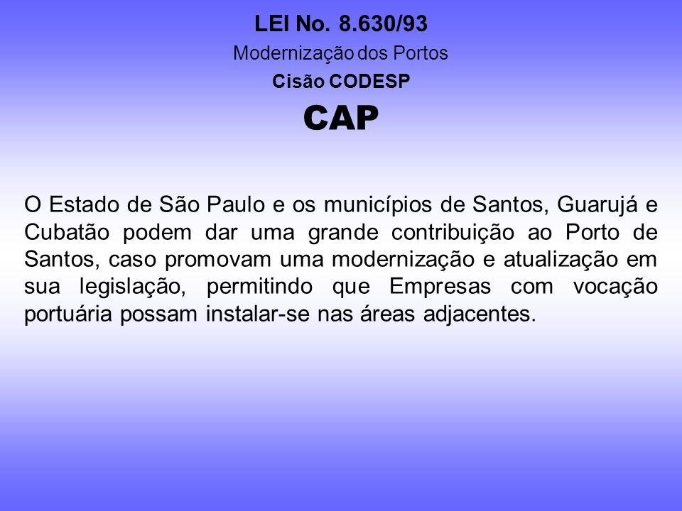 LEI No. 8.630/93 Modernização dos Portos Cisão CODESP CAP O Estado de São Paulo há muitos anos controla o Porto de São Sebastião, um terminal que tem