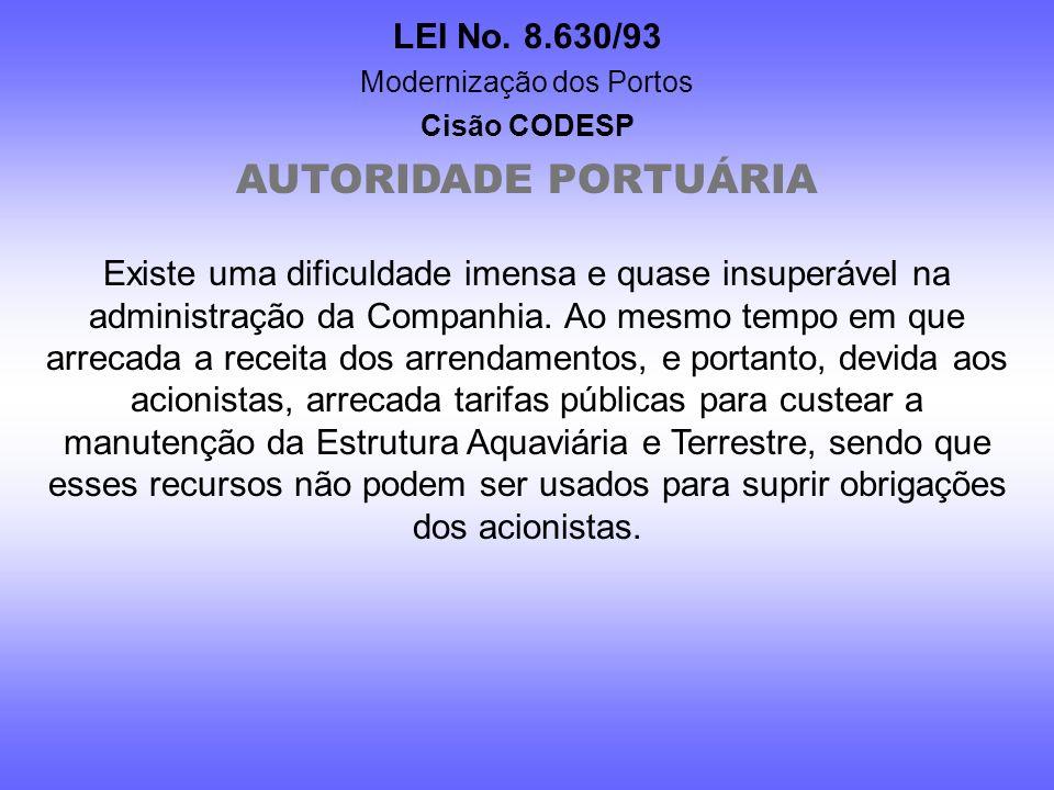 LEI No. 8.630/93 Modernização dos Portos Cisão CODESP AUTORIDADE PORTUÁRIA XIV – desincumbir-se dos trabalhos e exercer atribuições que lhes forem com