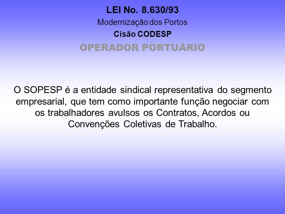 LEI No. 8.630/93 Modernização dos Portos Cisão CODESP IV – o trabalhador portuário, pela remuneração dos serviços prestados e respectivos encargos; V