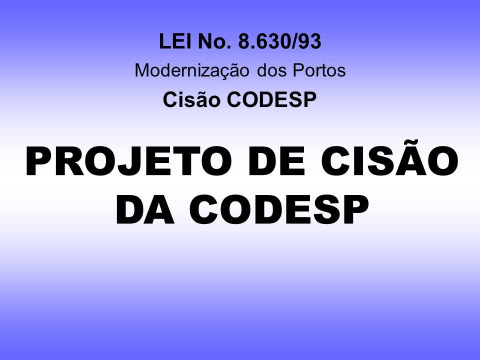 LEI No. 8.630/93 Modernização dos Portos Cisão CODESP O SOPESP é a entidade sindical representativa do segmento empresarial, que tem como importante f