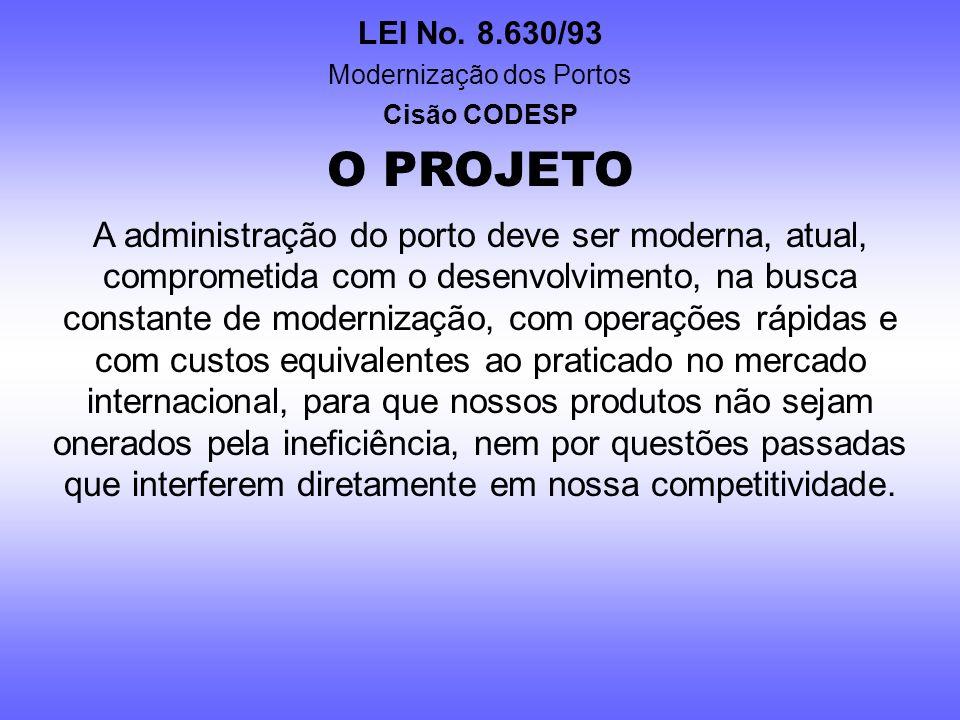 LEI No. 8.630/93 Modernização dos Portos Cisão CODESP O PROJETO O planejamento e a definição de metas para sanear a Companhia e resolver questões pend