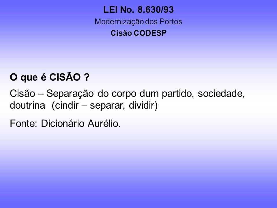 LEI No. 8.630/93 Modernização dos Portos Cisão CODESP O PROJETO Não há necessidade de outro ato jurídico por parte do Governo quanto à concessão de ex