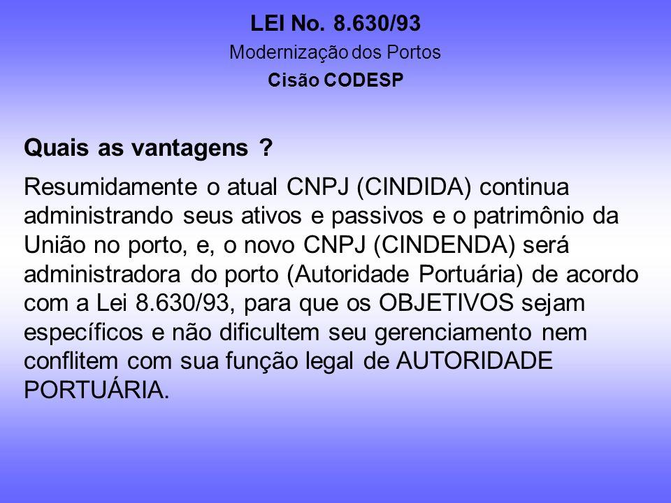 LEI No. 8.630/93 Modernização dos Portos Cisão CODESP Por que se proceder uma CISÃO na CODESP ? Porque separando do corpo da sociedade as obrigações r