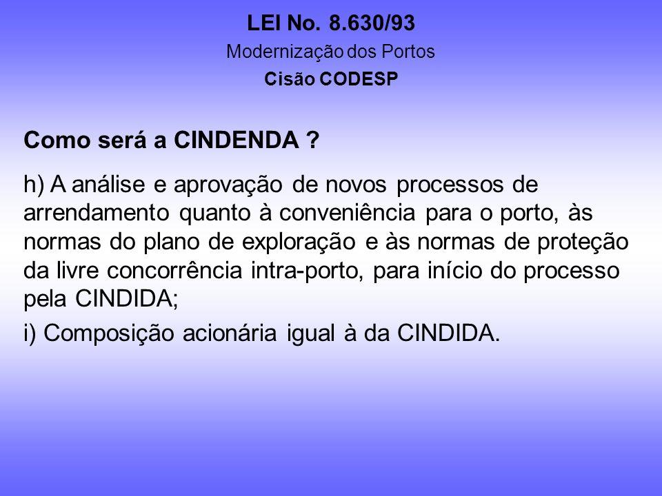 LEI No. 8.630/93 Modernização dos Portos Cisão CODESP Como será a CINDENDA ? d) Definição e planejamento para o atendimento das obrigações legais, ope