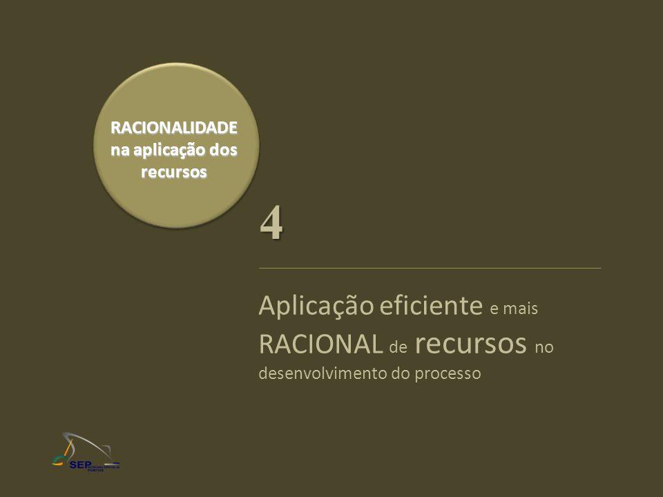 RACIONALIDADE na aplicação dos recursos Aplicação eficiente e mais RACIONAL de recursos no desenvolvimento do processo 4