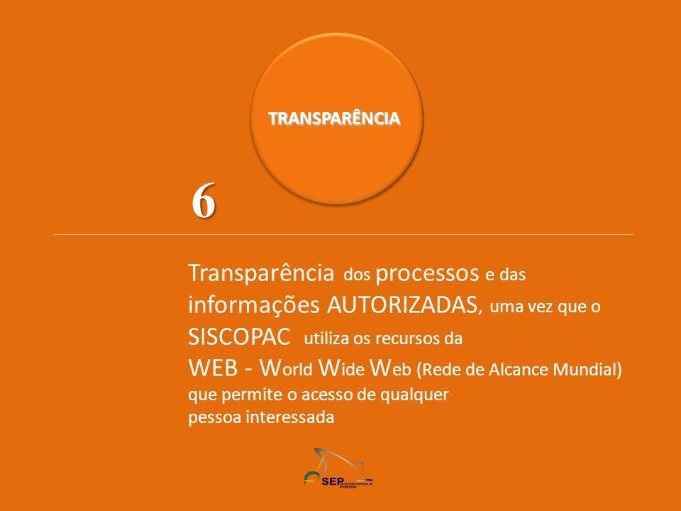 TRANSPARÊNCIA Transparência dos processos e das informações AUTORIZADAS, uma vez que o SISCOPAC utiliza os recursos da WEB - W orld W ide W eb (Rede d