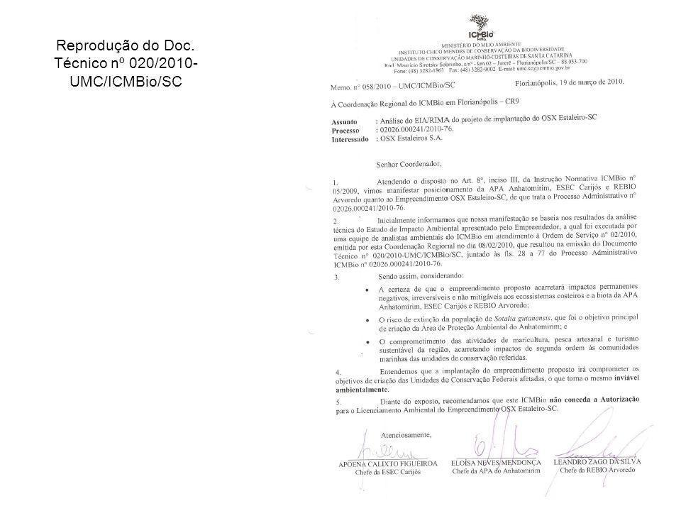 Reprodução do Doc. Técnico nº 020/2010- UMC/ICMBio/SC