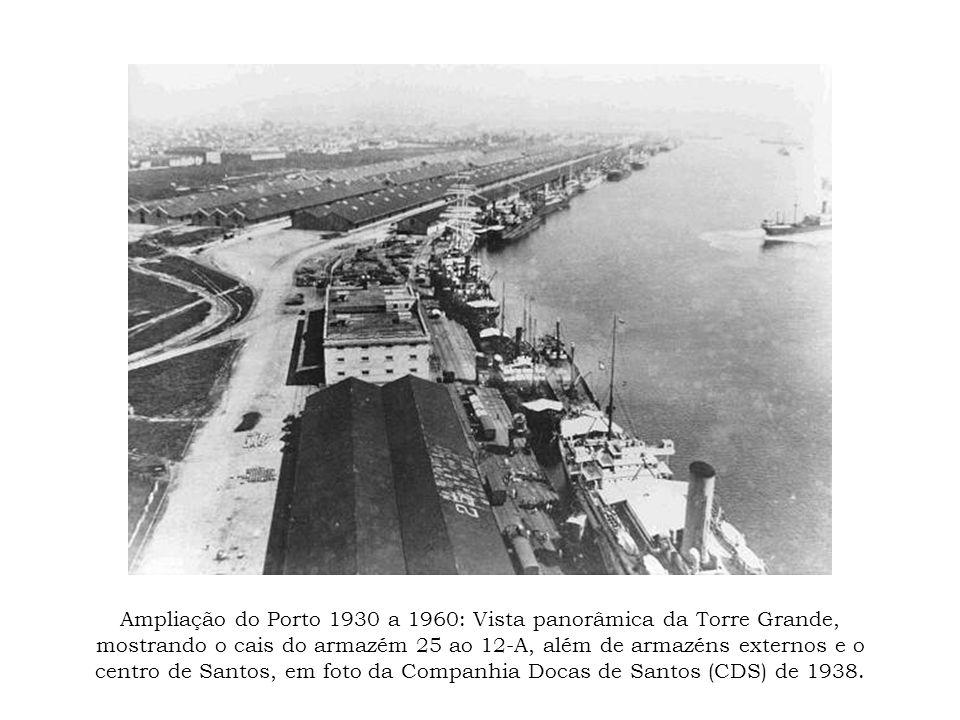 Ampliação do Porto 1930 a 1960: Vista panorâmica da Torre Grande, mostrando o cais do armazém 25 ao 12-A, além de armazéns externos e o centro de Sant