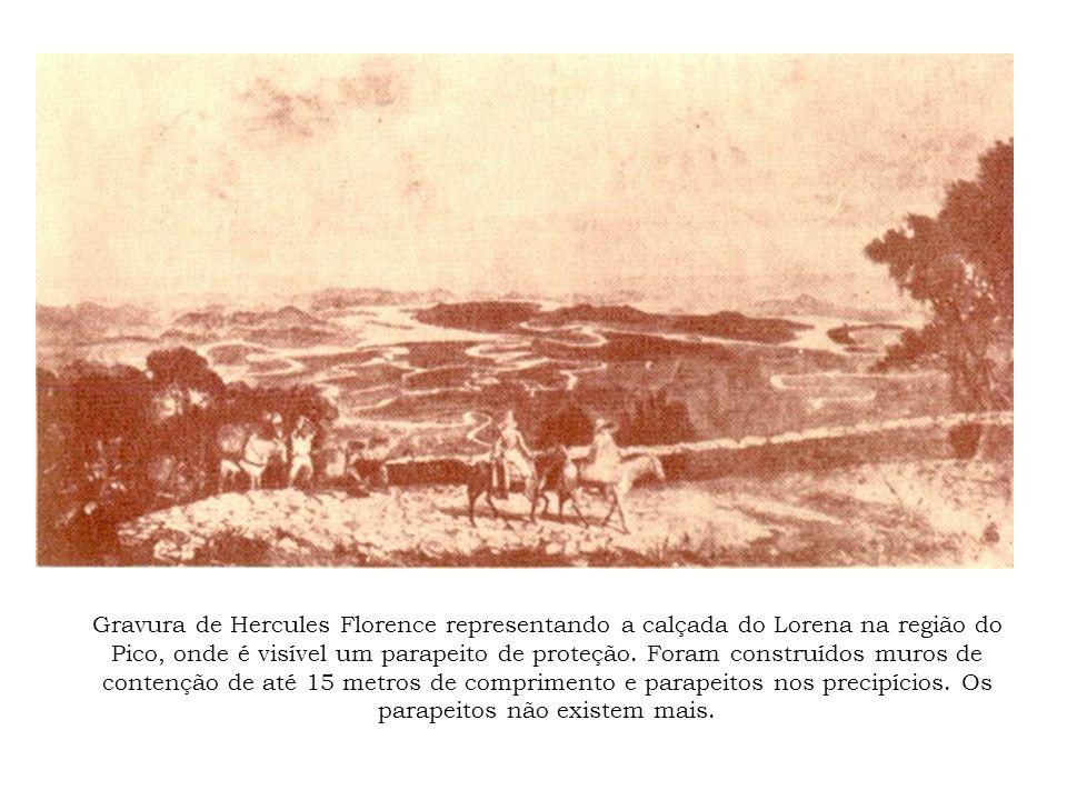 Gravura de Hercules Florence representando a calçada do Lorena na região do Pico, onde é visível um parapeito de proteção. Foram construídos muros de