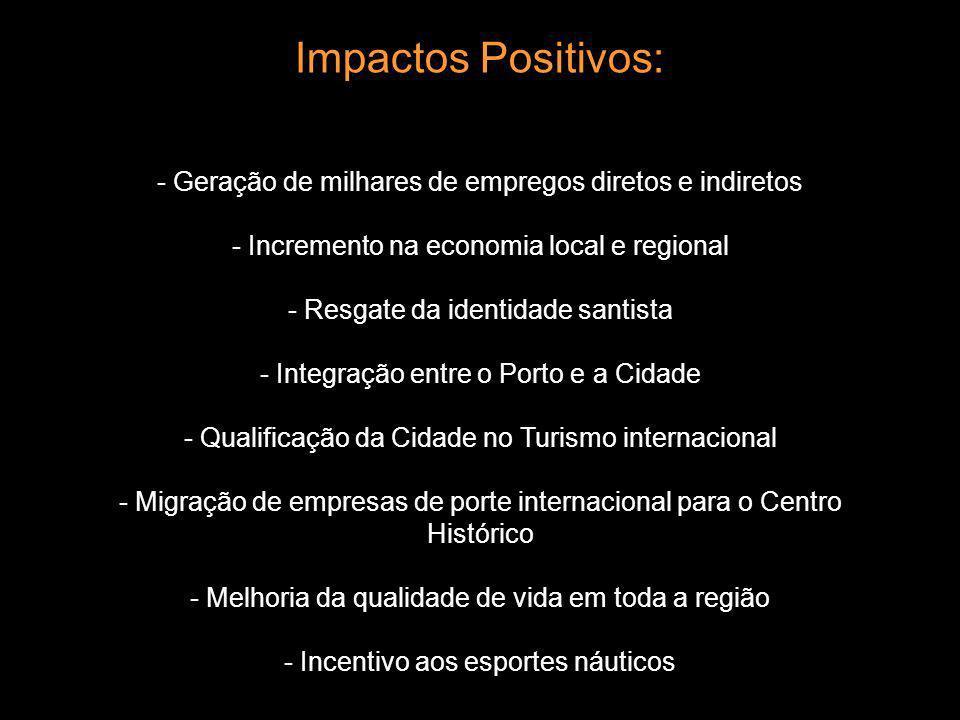 Impactos Positivos: - Geração de milhares de empregos diretos e indiretos - Incremento na economia local e regional - Resgate da identidade santista -