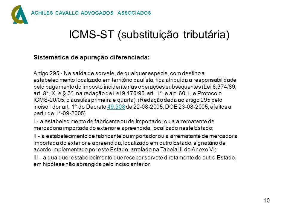 10 ICMS-ST (substituição tributária) Sistemática de apuração diferenciada: Artigo 295 - Na saída de sorvete, de qualquer espécie, com destino a estabe
