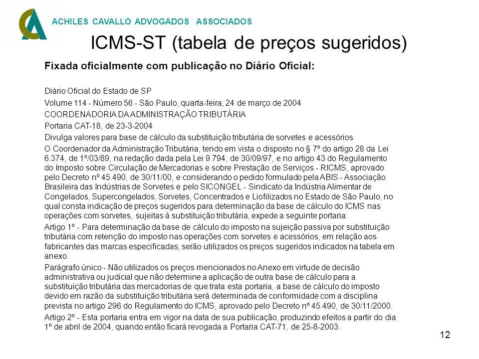 12 ICMS-ST (tabela de preços sugeridos) Fixada oficialmente com publicação no Diário Oficial: Diário Oficial do Estado de SP Volume 114 - Número 56 -