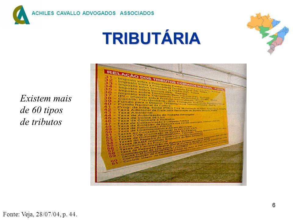 6 ACHILES CAVALLO ADVOGADOS ASSOCIADOS TRIBUTÁRIA TRIBUTÁRIA Fonte: Veja, 28/07/04, p. 44. Existem mais de 60 tipos de tributos