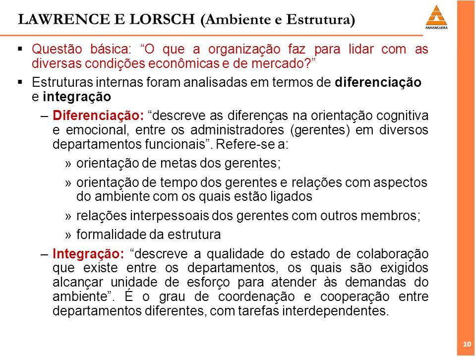 10 LAWRENCE E LORSCH (Ambiente e Estrutura) Questão básica: O que a organização faz para lidar com as diversas condições econômicas e de mercado? Estr