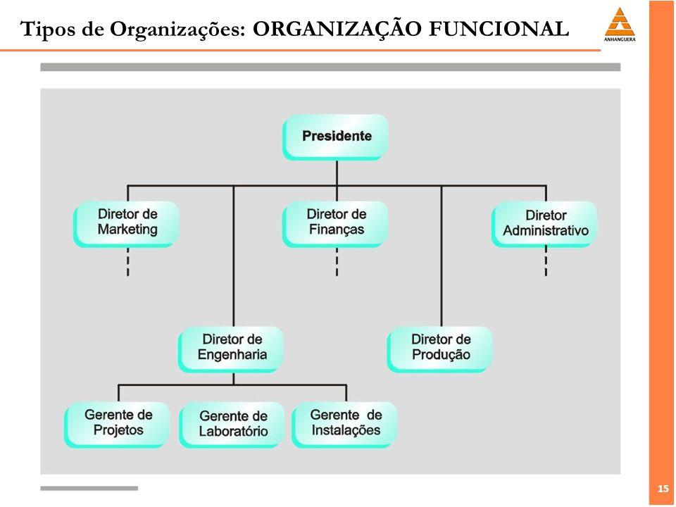 15 Tipos de Organizações: ORGANIZAÇÃO FUNCIONAL