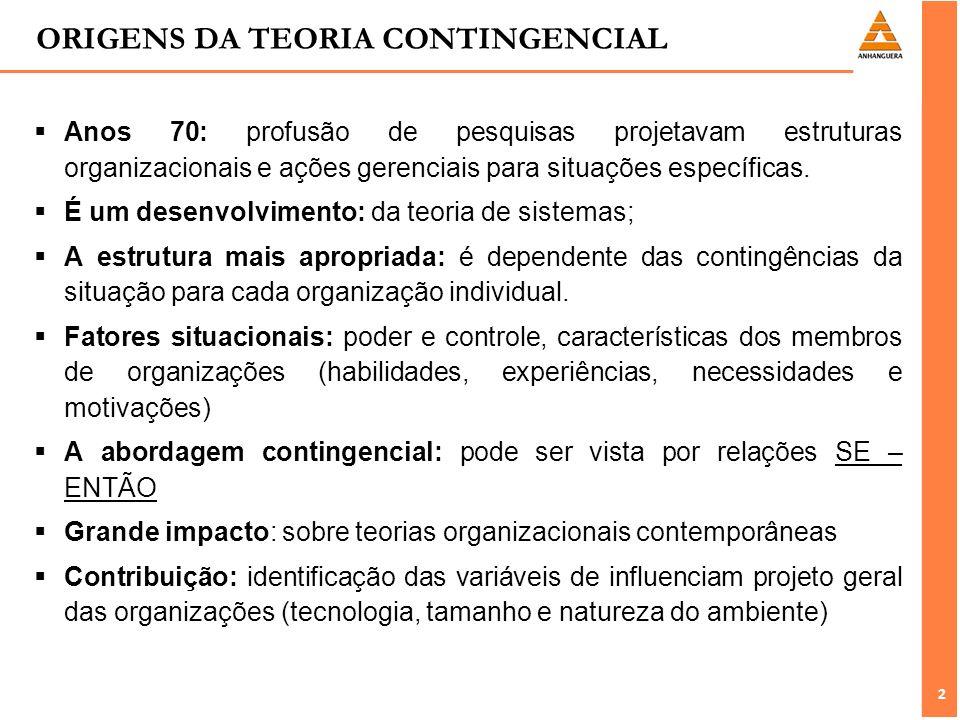 2 2 ORIGENS DA TEORIA CONTINGENCIAL Anos 70: profusão de pesquisas projetavam estruturas organizacionais e ações gerenciais para situações específicas